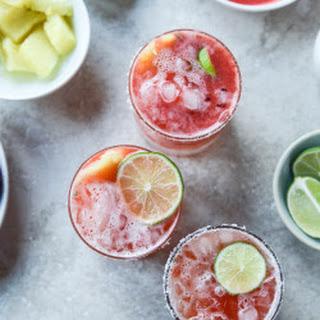 Strawberry Bottomed Pineapple Margaritas.
