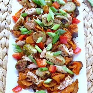 Jamaican Jerk Loaded Sweet Potato Nachos.