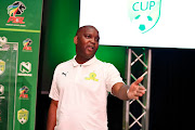 Mamelodi Sundowns coach Pitso Mosimane during the  press conference at Nedbank Auditorium on February 20, 2020 in Johannesburg, South Africa.