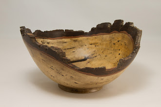 "Photo: Richard Webster 9"" x 4"" natural edged bowl [persimmon]"