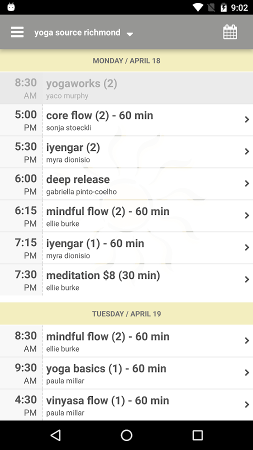 yoga source - richmond- screenshot