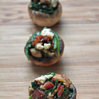 Bacon, Spinach & Feta Stuffed Mushrooms (Low Carb & Gluten Free).