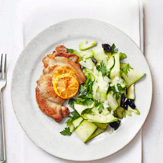 Chicken Thigh Cutlets With Zucchini, Celery, and Olive Salad.