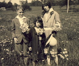 Photo: Mildred (Gordon's mom) Gordon and Lois gathering daisies.