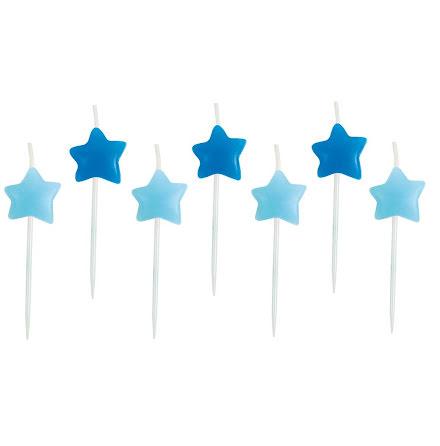 Tårtljus stjärna blå, 7-pack.