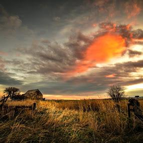 Sunrise shack 2 by Evan Jones - Landscapes Sunsets & Sunrises ( idaho, sunrise, camas, prairie )