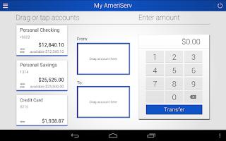 Screenshot of AmeriServ Bank Mobile Banking