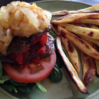 Red Pepper Ranch Paleo Stuffed Burgers with Caramelized Onions