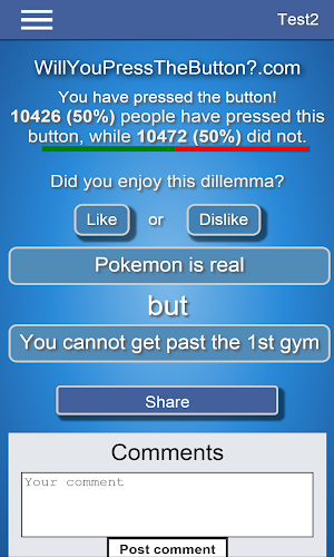 0 Will You Press The Button? App screenshot