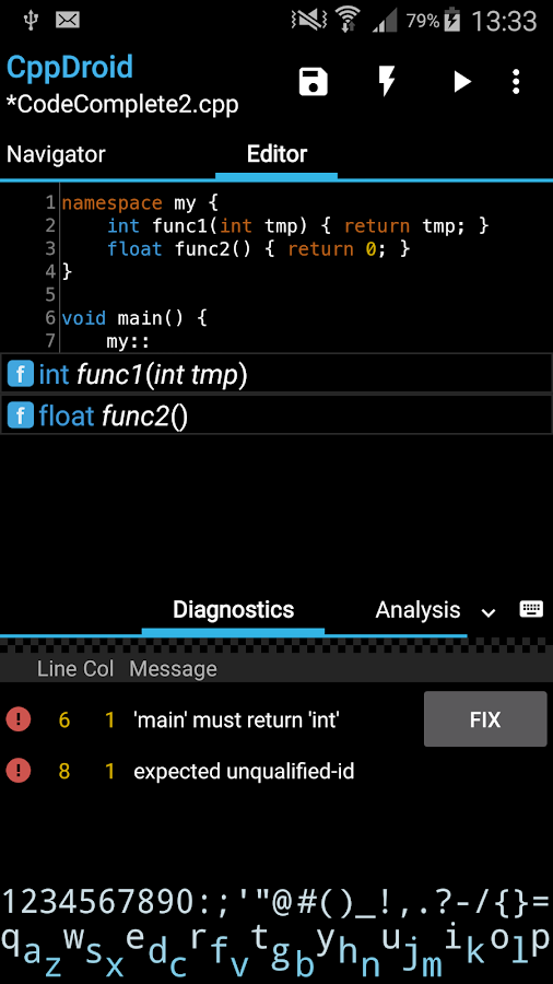 CppDroid - C/C++ IDE- screenshot
