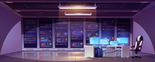 Data center room with server racks, computer monitors on desk and chair. Free Vector