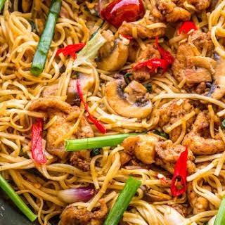 Stir Fried Chicken & Mushroom Noodles.