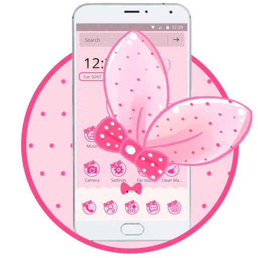 Cute Pink Bowknot Theme