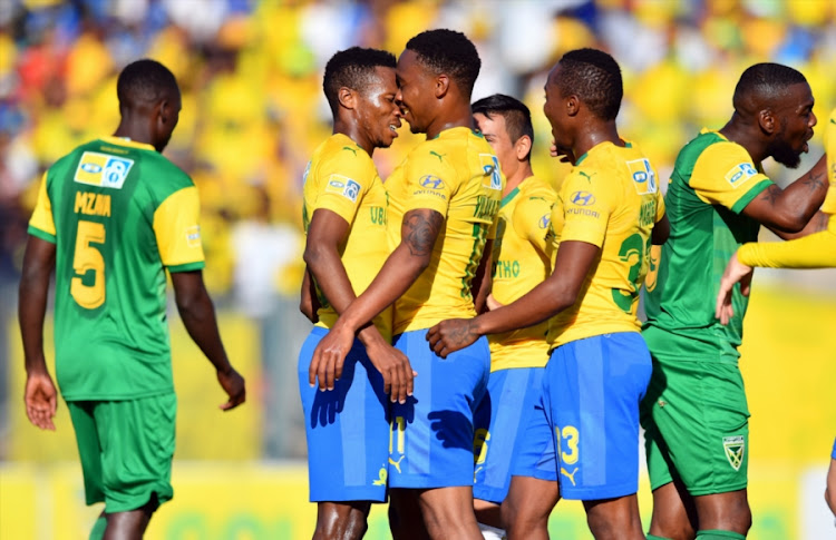 Mamelodi Sundowns forward Sibusiso Vilakazi celebrates with his teammates after scoring the opening goal in a 2-0 win over Lamontville Golden Arrows to advance to the semifals of the MTN8 at Lucas Moripe Stadium on Saturday August 11, 2018 in Pretoria, South Africa.