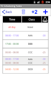 TC Scheduling Table screenshot 2