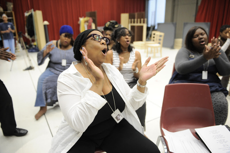 Photo: E. Faye Butler (Mabel) rehearses Regina Taylor's 10th anniversary production of Crowns at Goodman Theatre (June 30 – August 5).