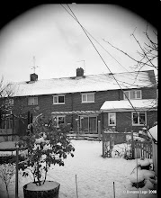 Photo: Back of house in the snow. 4x5 view camera.  Paper negative, yellow filter.