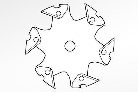 Esempio di accessorio di taglio metallico con elementi aggiunti