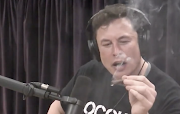 Elon Musk puffs on a joint.