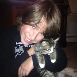 A Boy and his Kitten by Kristine Nicholas - Novices Only Portraits & People ( cat, hugs, hug, teen, hugging, kidkitten, kid, child, love, pet, teenager, pets, feline, boy, animal,  )