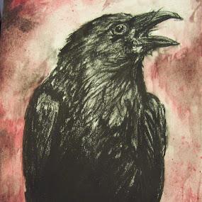 Portence by Cindy Swinehart - Mixed Media All Mixed Media ( red, dark, crow, blood, halloween )