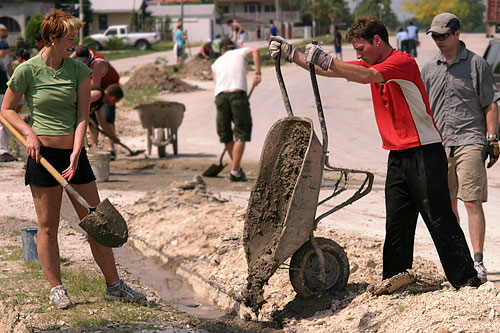 Canadian volunteers help in rebuilding Liberty Avenue in Orange Walk Town, circa May 2007