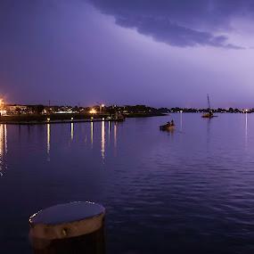 Purple Lightning by Jeff Klein - Landscapes Starscapes ( clouds, water, lightning, sky, sono, night, landscape )