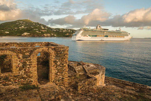 A Royal Caribbean cruise ship alights in the bay of St. Thomas, U.S. Virgin Islands.