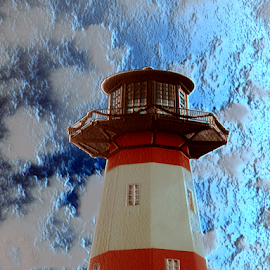 Lighthouse by Edward Gold - Digital Art Things ( digital photography, blue sky, blue water, lighthouse, clouds, digital art )