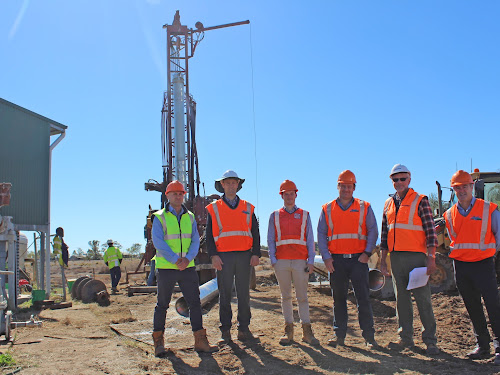 Narrabri Shire Council project manager Leonard Maharaj, water services manager Claude-Henri Leculier, graduate engineer James Osler, design engineer Joel Phillips, Jacobs Australia hydrogeologist Trevor Ingram and council infrastructure delivery director Darren Raeck at the Killarney Street bore site. The existing bore is at the left of the photo and the new bore at the back. Inset, drilling fluid is holding the new bore in place.