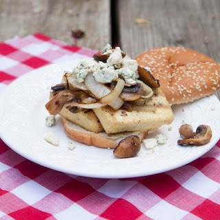 Grilled Tofu Burgers with Mushrooms and Blue Cheese