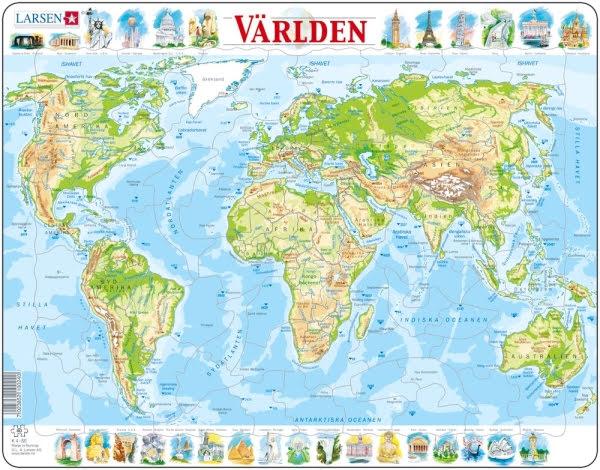 Larsen Pussel Världskarta Topografisk - 80 bitar