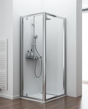 Porte de douche pivotante avec ou sans paroi latérale fixe, porte 65 à 120 cm, paroi latérale 25 à 120 cm