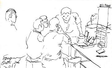 Photo: 討論2011.10.26鋼筆 幾個收容人正為著今天的作業項目熱烈討論著。