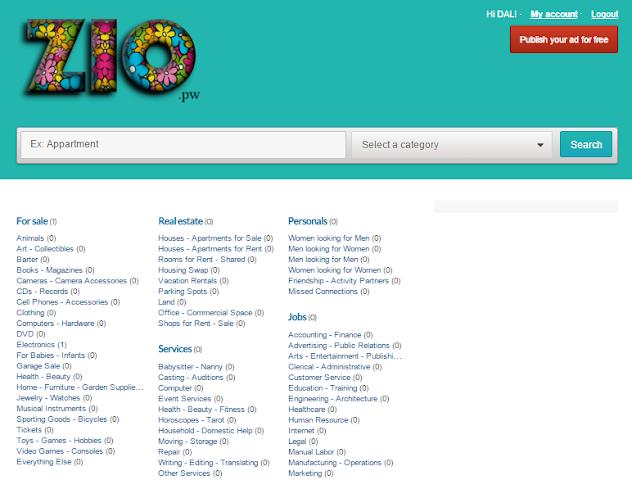 android ZIO.pw World Free Classifieds Screenshot 1