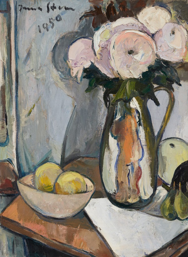 Still life with magnolias, apples and bowl