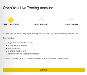 Create your Live Trading Account at Alpaca