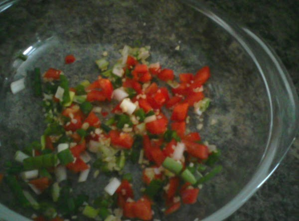 Put the scallions, pepper and garlic in a 1 quart glass dish. Cover and...