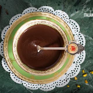 Thick Italian hot chocolate with orange.