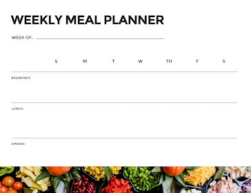 Weekly Meal Planner Meals - Planner Template