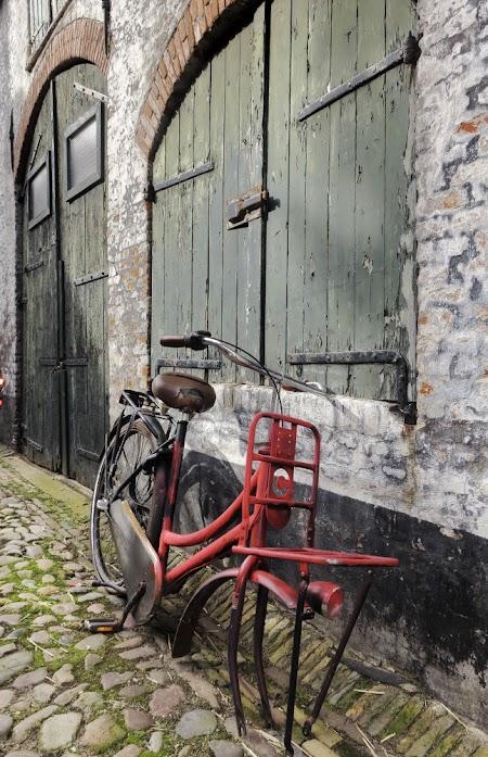 rode fiets voor groene poort in grijzig huis