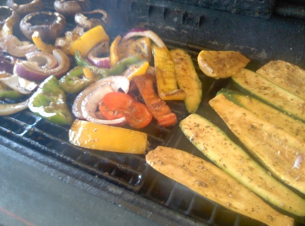 Place all veggies onto grill, mushrooms with cap side down. Pour any leftover marinade...