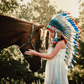 The New Face of Native America by Sherri Hamilton - Babies & Children Child Portraits ( indian horse headress native redhead )
