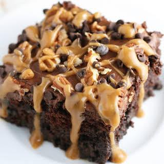 Chocolate Turtle Poke Cake.