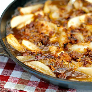 Apple Pear Skillet Dessert with Pecan Coconut Topping.