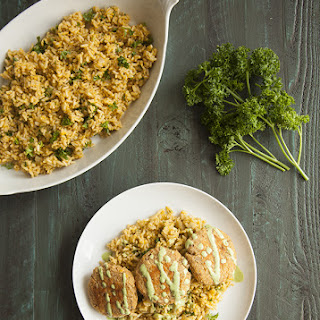 Red Lentil and Quinoa Cakes with Harissa (Gluten Free).