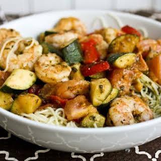 Shrimp, Zucchini & Pesto Angel Hair Pasta.
