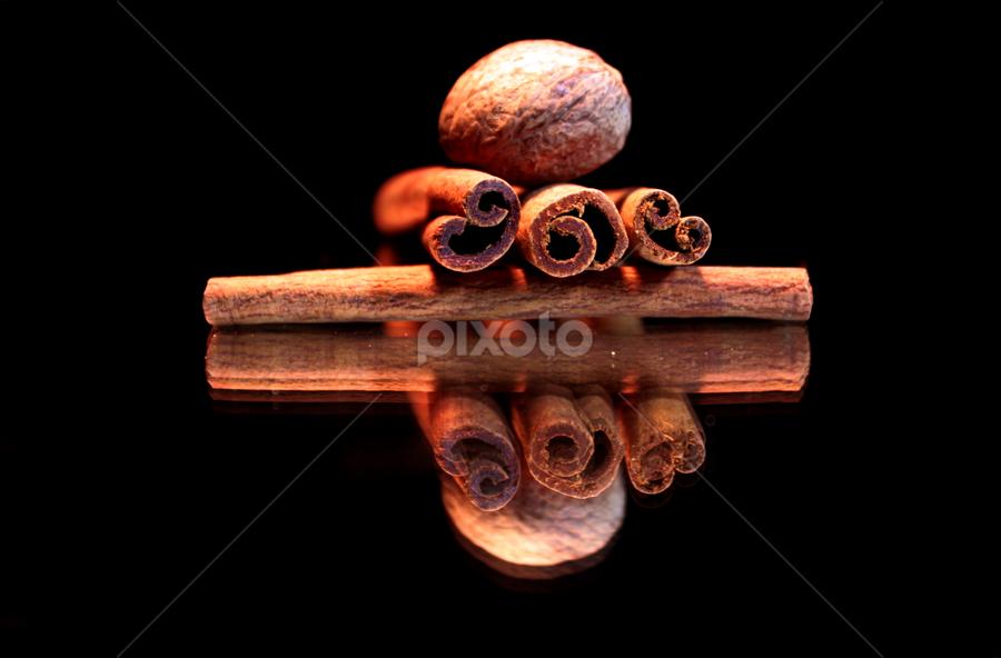 by Dipali S - Food & Drink Ingredients ( reflection, cinnamon, food, ingredient, spices, nutmeg )