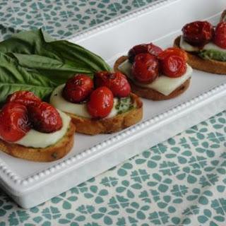 Bruschetta Roasted Tomato Mozzarella Appetizer.