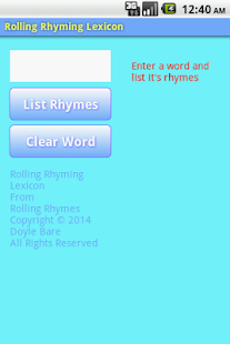Rolling Rhyming Lexicon- screenshot thumbnail